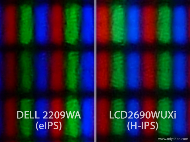 e-IPS ピクセル形状 H-IPSとの比較